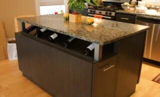 Kitchen island with wine shelf