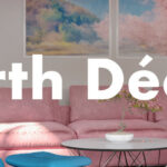"""Living room rendering with over layed text reading """"Earth Decor"""""""