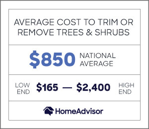 the average cost to trim or remove trees and shrubs is $850 or $165 to $2,400